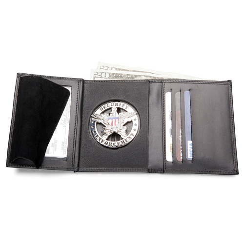 galls tri fold leather badge traditional size wallet