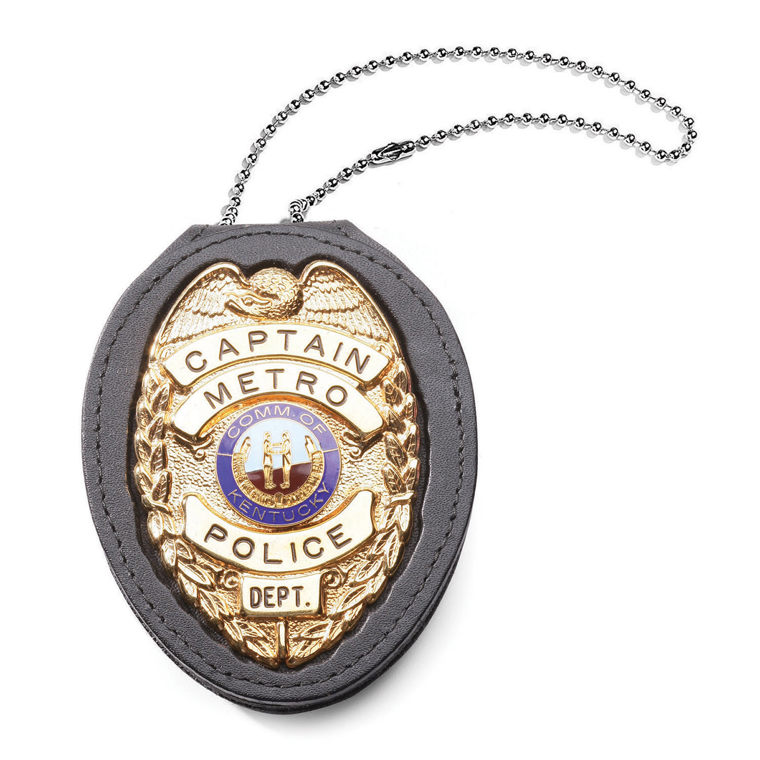 pendant badge police holder leather galls universal