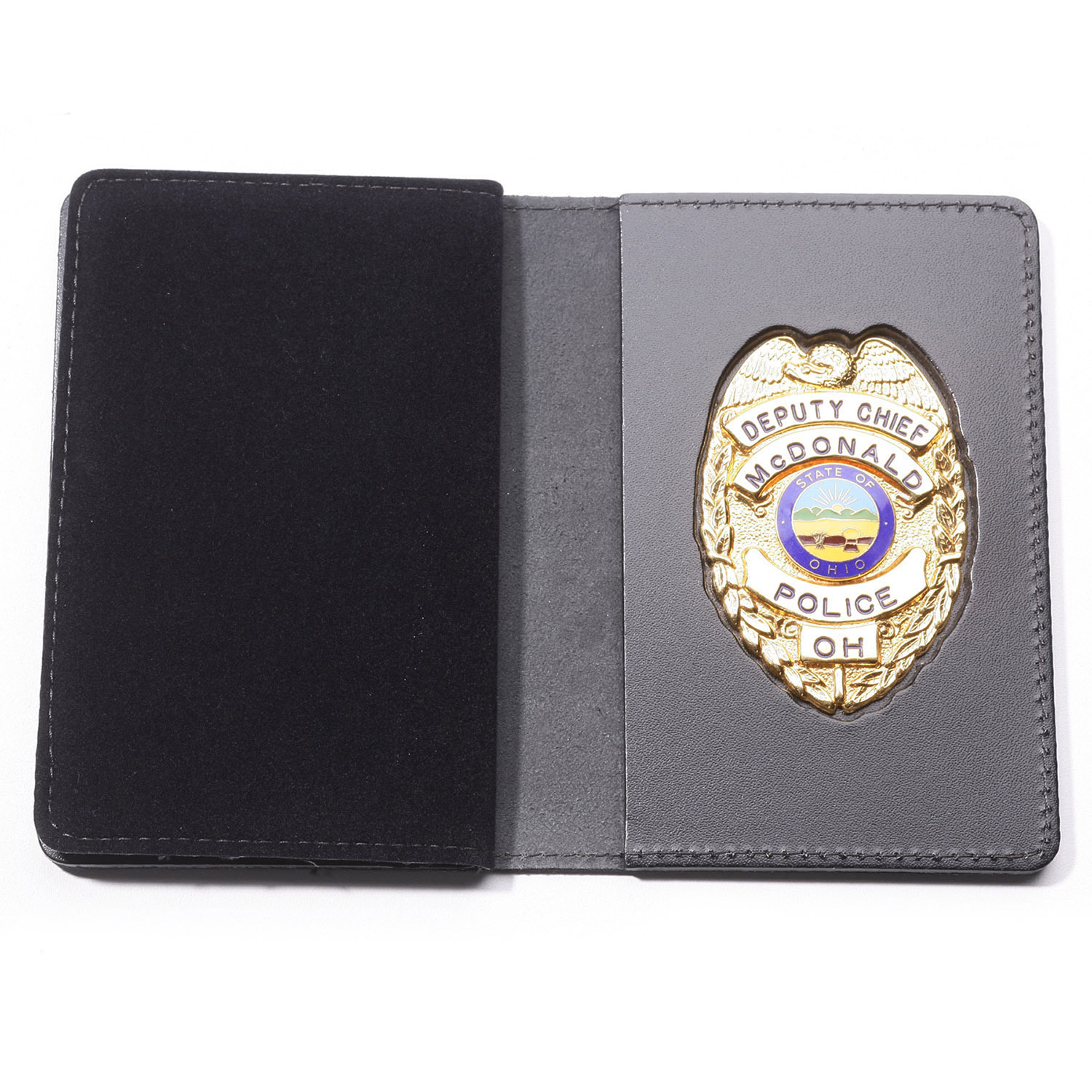 Perfect Fit Duty Leather Recessed Badge and Double ID Case