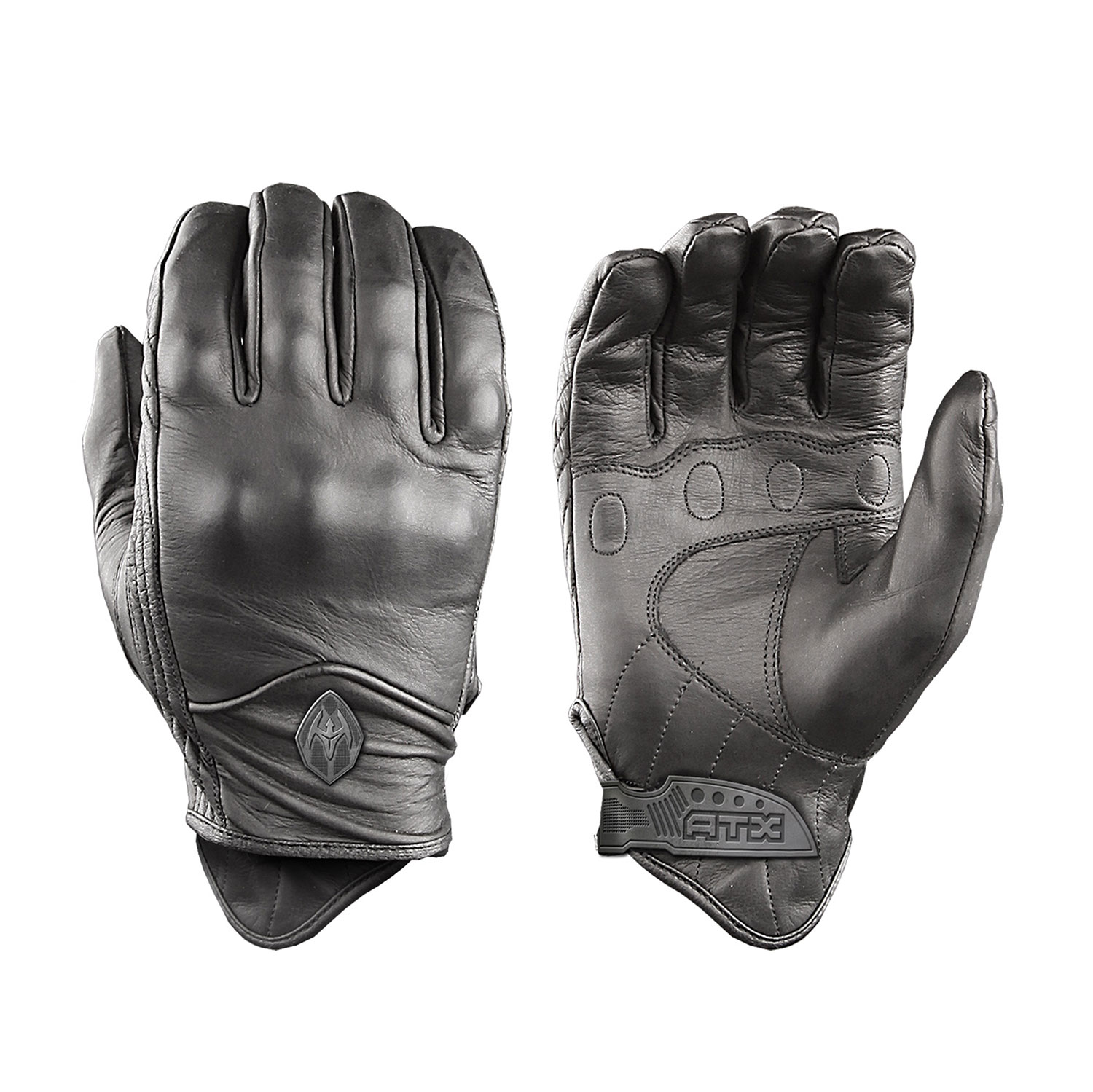 Damascus All-Leather Gloves with Knuckle Armor