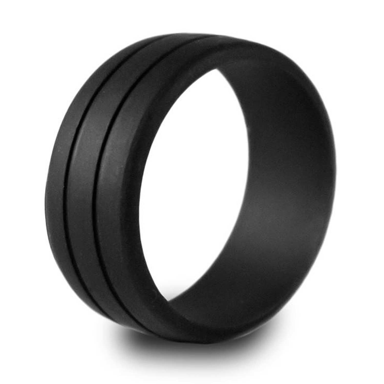 Silicone Wedding Ring.Komfortringz Men S Double Debosed Silicone Wedding Ring