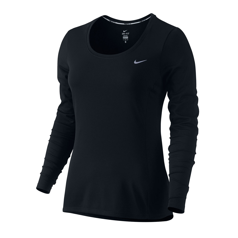 Nike womens dri fit long sleeve running shirt for Under armour dri fit long sleeve shirts