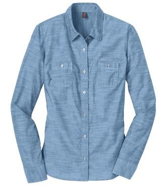 District Made Ladies Long Sleeve Washed Woven Shirt