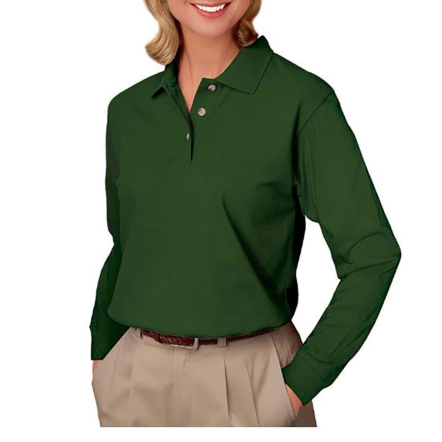 Blue Generation Ladies' Long Sleeve Pique Polo