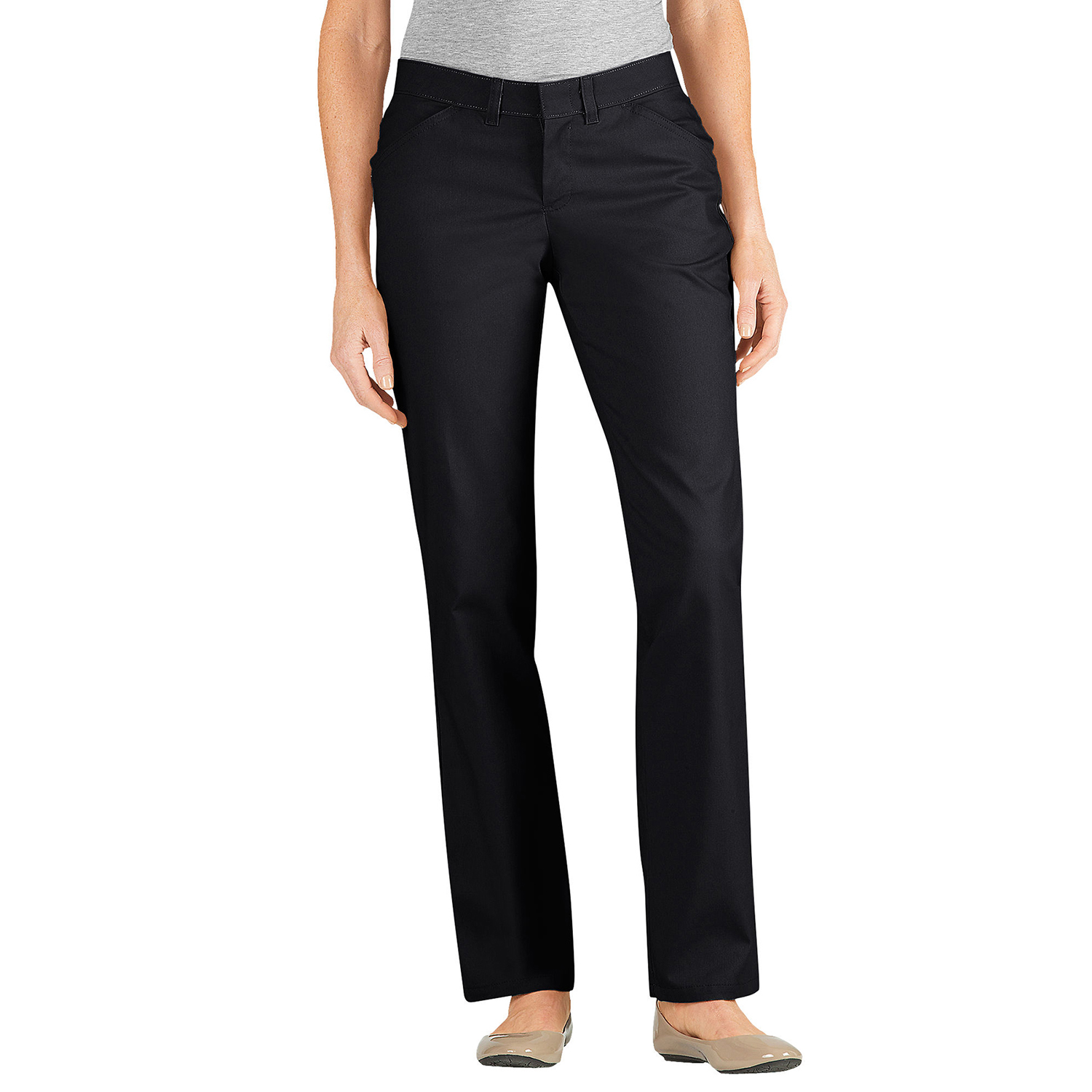 Dickies Womens Premium Curvy Straight Flat Front Pants