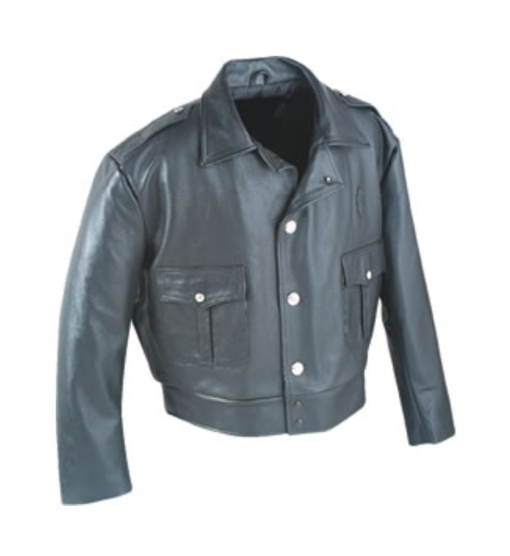 4450 LEATHER POLICE JACKET WITH QUILTED LINER