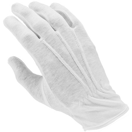 FINGER FASHIONS-GFP White Parade Gloves w/PVC Dots